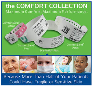 the Comfort Collection Direct Thermal Series Patient ID Wristbands