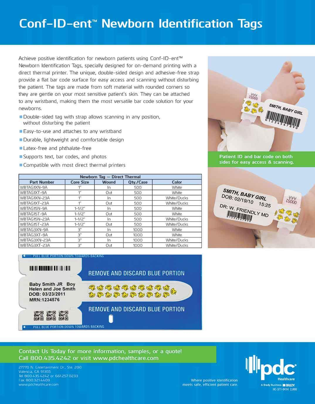 Conf-ID-ent™ Newborn Identification Tags