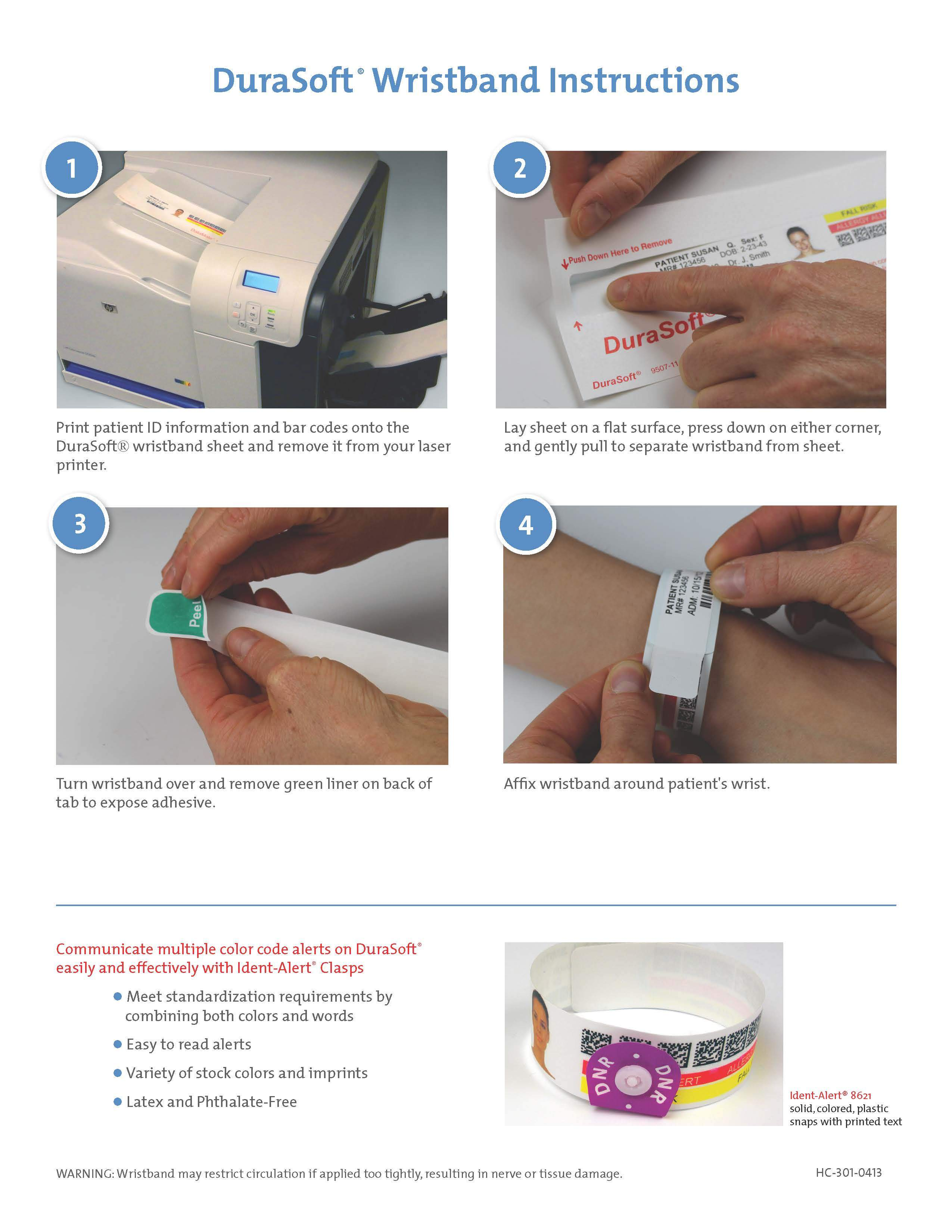 Durasoft® Wristbands Instruction Sheet