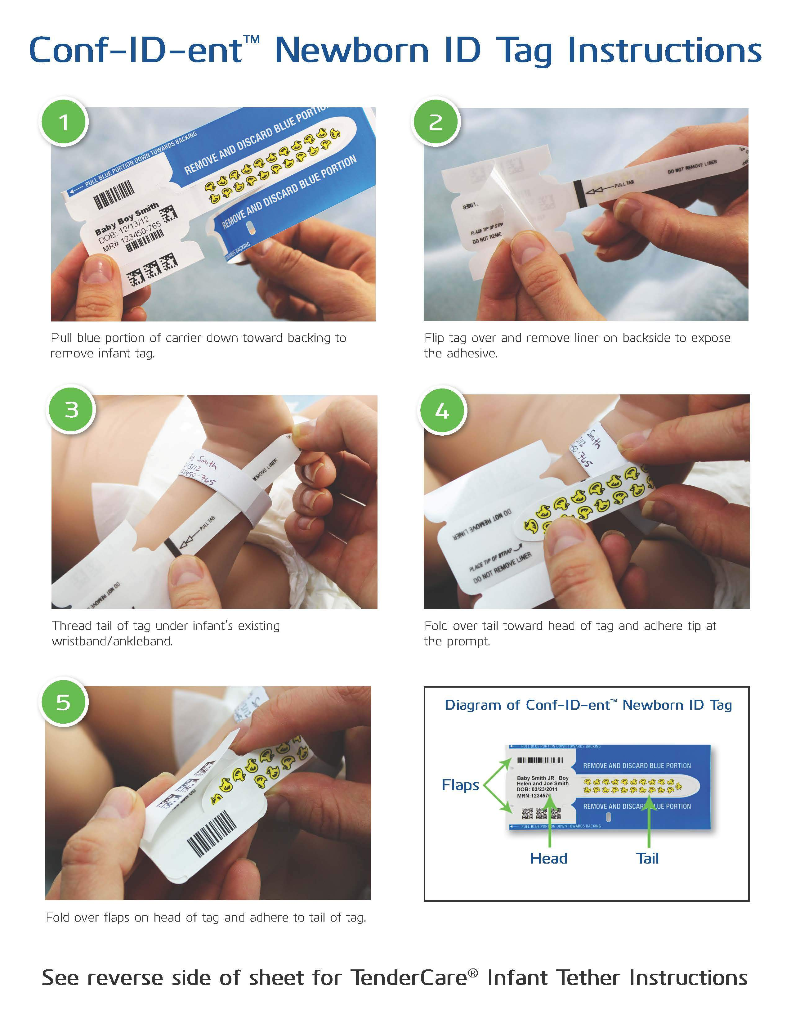 Conf-ID-ent™ Newborn ID Tag & TenderCare® Infant Tether Instruction Sheet