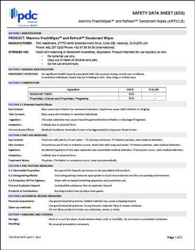 Mammo FreshWipes and ReFresh Deodorant Wipes Safety Data Sheet