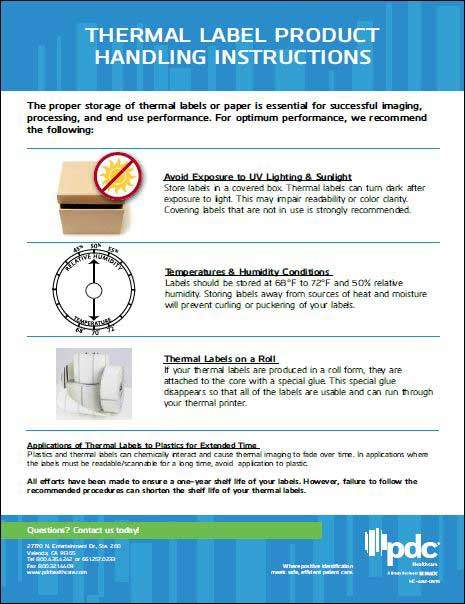 Thermal Label Product Handling Instructions